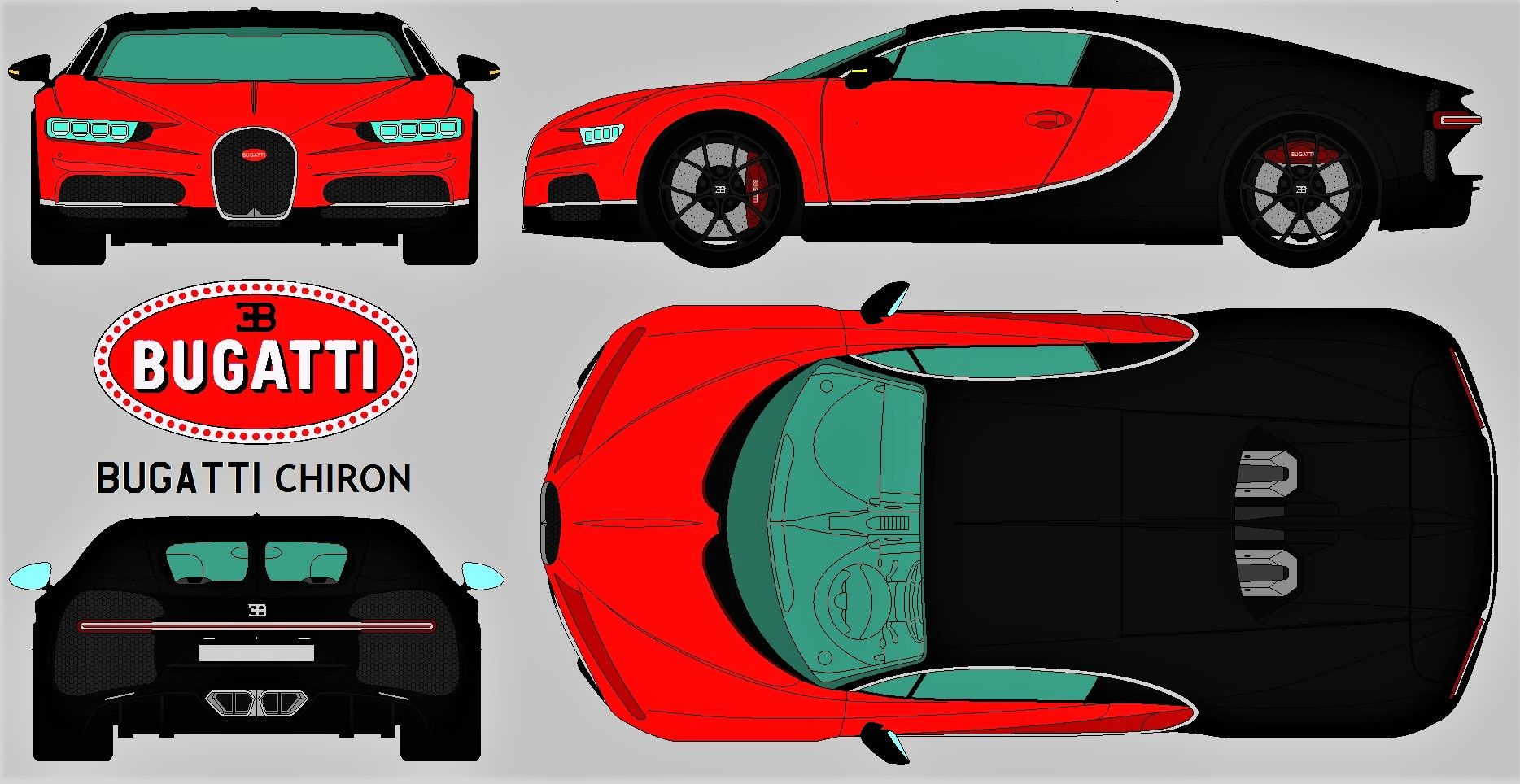Bugatti Chiron Red Blueprint Blueprints Views Super Cars