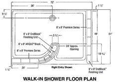 Walk In Shower Plans And Specs Google Search Glass Block Shower Bathroom Floor Plans Walk In Shower