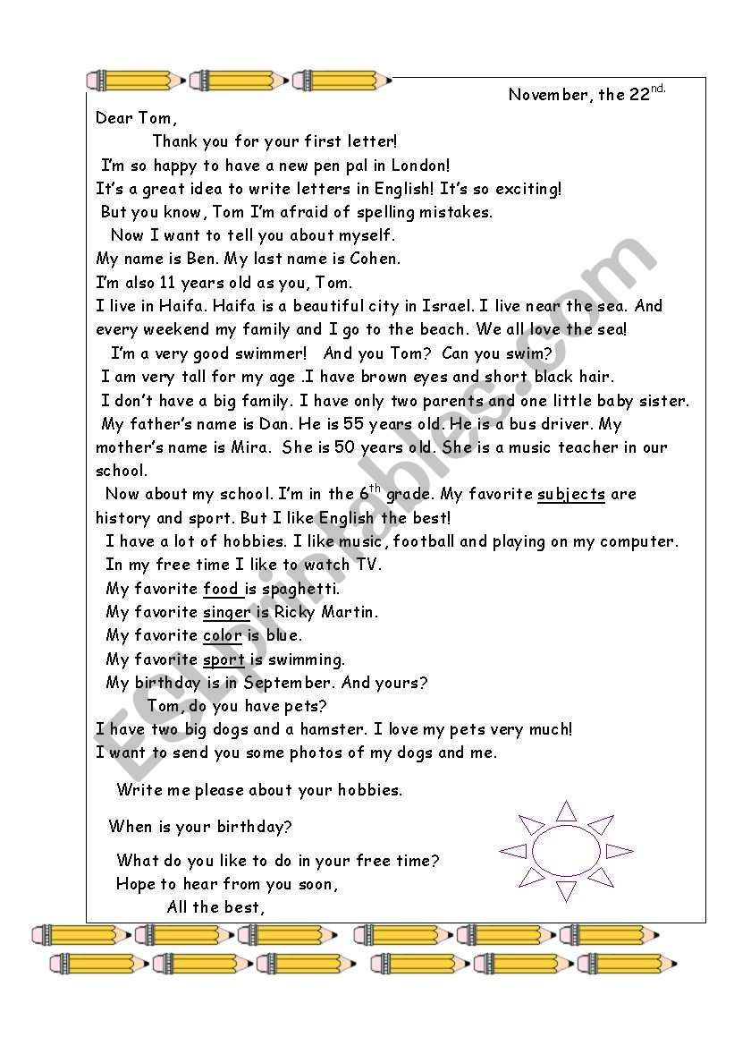 A letter to a pen friend ESL worksheet by Victoria