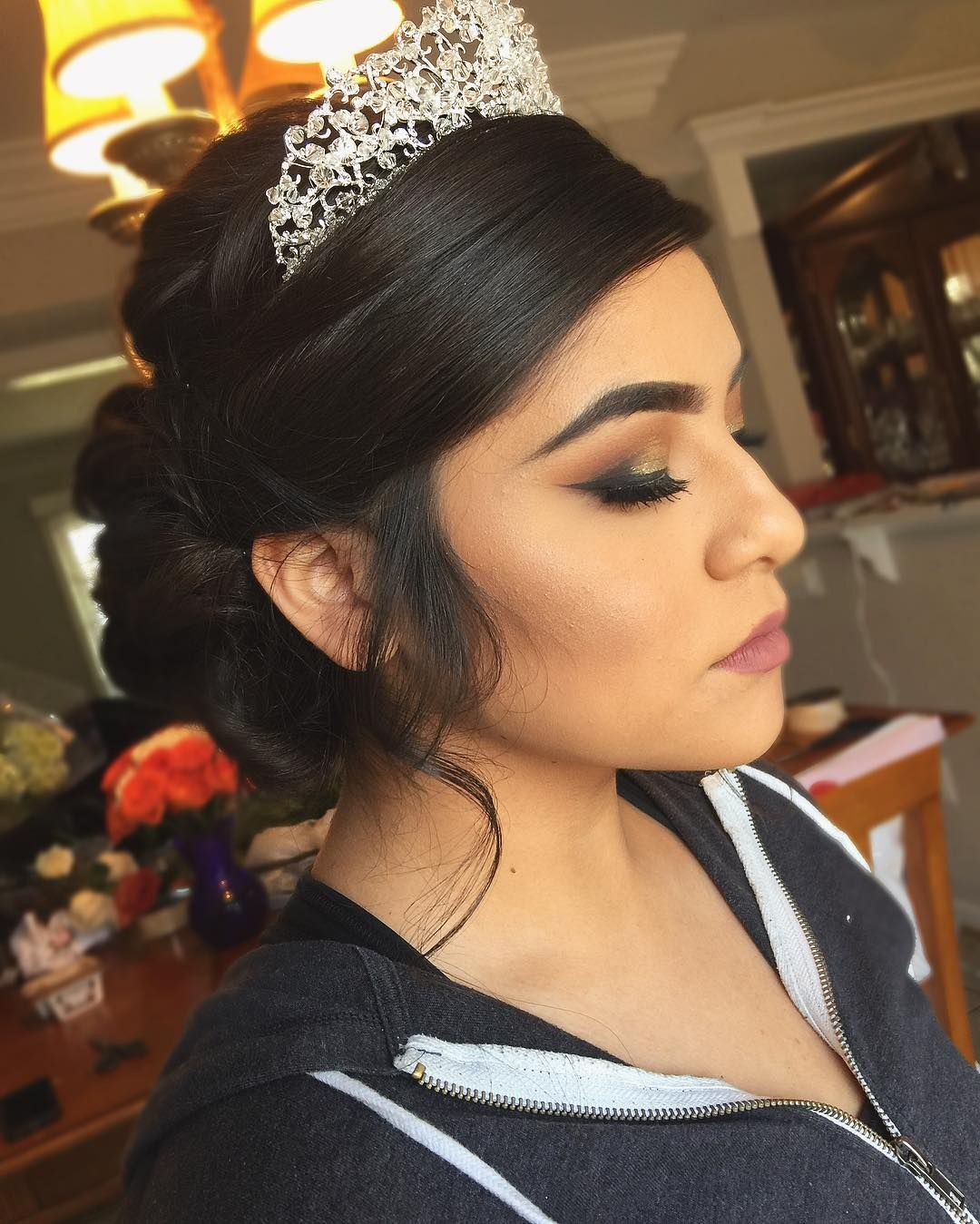 Quinceanera Hairstyles Impressive 20 Absolutely Stunning Quinceanera Hairstyles With Crown  Pinterest