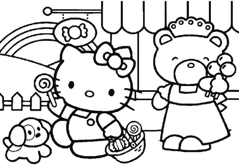 Hello Kitty Shopping To Christmas Coloring Page Hello Kitty Coloring Hello Kitty Drawing Hello Kitty Colouring Pages