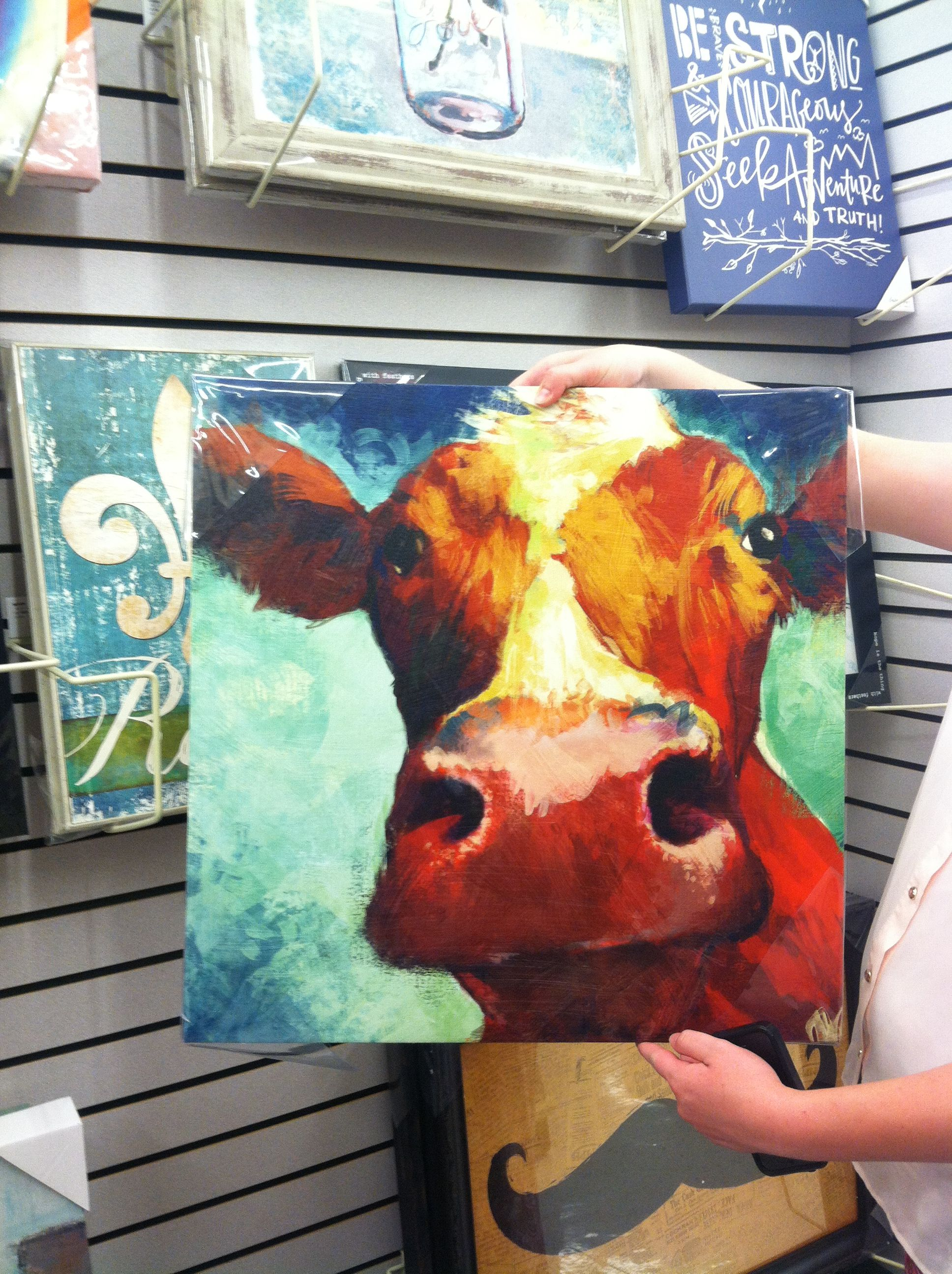 Hobby Lobby Cow Face Meagan6 This Is What I Saw Haha Cow Art Art Hobbies Painting