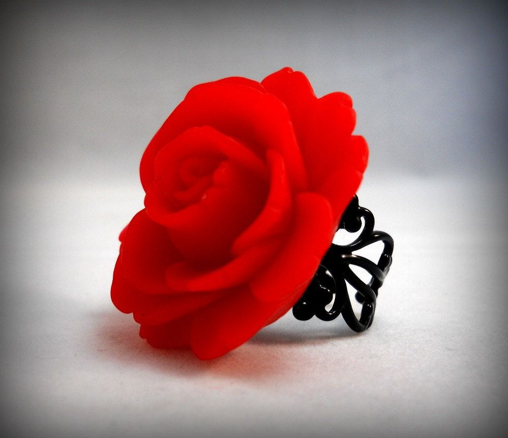 wedding black ring rose gothic filigree pin red on esty rings from