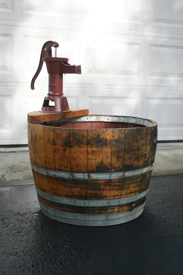 Pin By Jaime Peters On Living Outdoors Barrel Fountain Outdoor Water Features Hand Water Pump