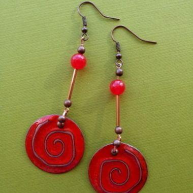 Summer Spirals Hand Enameled Earrings Enamel Earrings Wire Ear Cuffs Earrings
