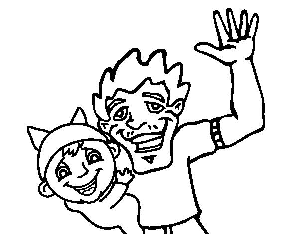 Dibujo de Padre e hijo saludando para colorear  Dibujos del Da