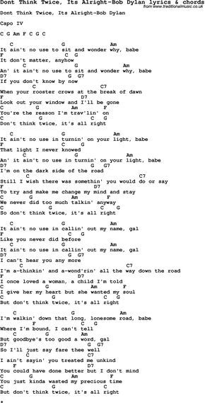 Love Song Lyrics for: Dont Think Twice, Its Alright-Bob Dylan with ...