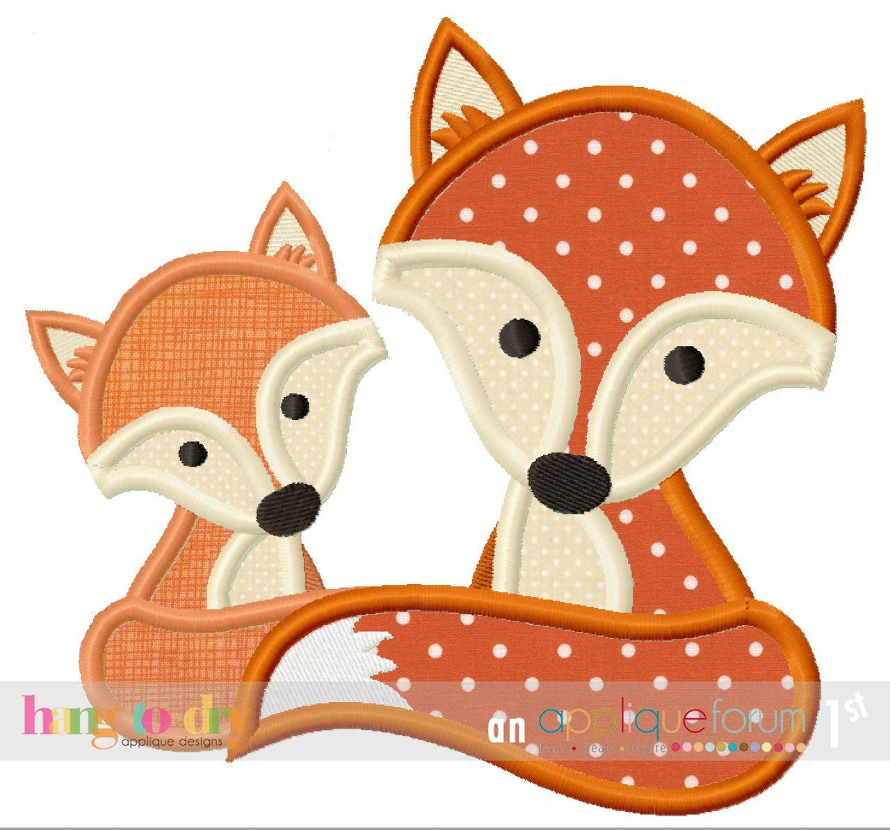 Hang to Dry Applique - Fox Mommy | maru | Pinterest | Apliques ...