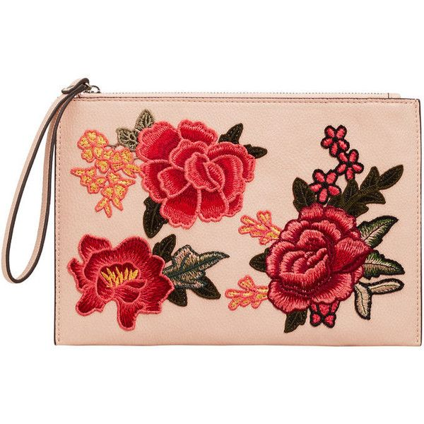 Floral Embroidered Cosmetic Bag (57 BRL) ❤ liked on Polyvore featuring  beauty products,