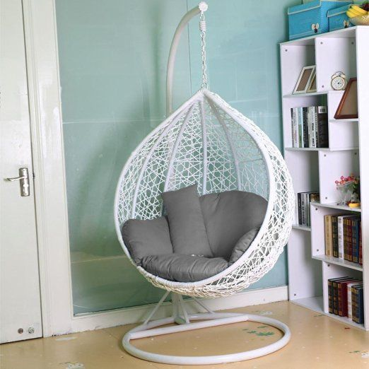 Patio Hanging Egg Chair With Bird Fabric Tinkertonk Rattan Swing Garden Wicker Hammock W Cushion Cover Indoor Or Outdoor Max 150kg White