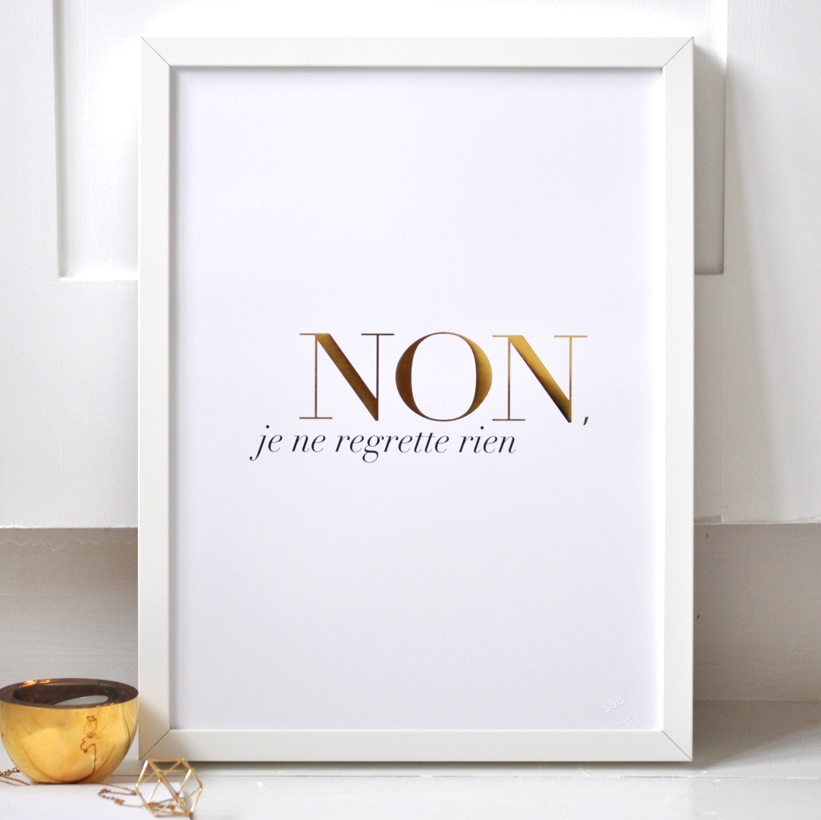 Non Je Ne Regrette Rien Poster - white