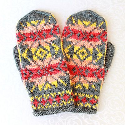 Women's Girl's Fair Isle Hand Knit Hand Knitted Hand Made Mittens ...