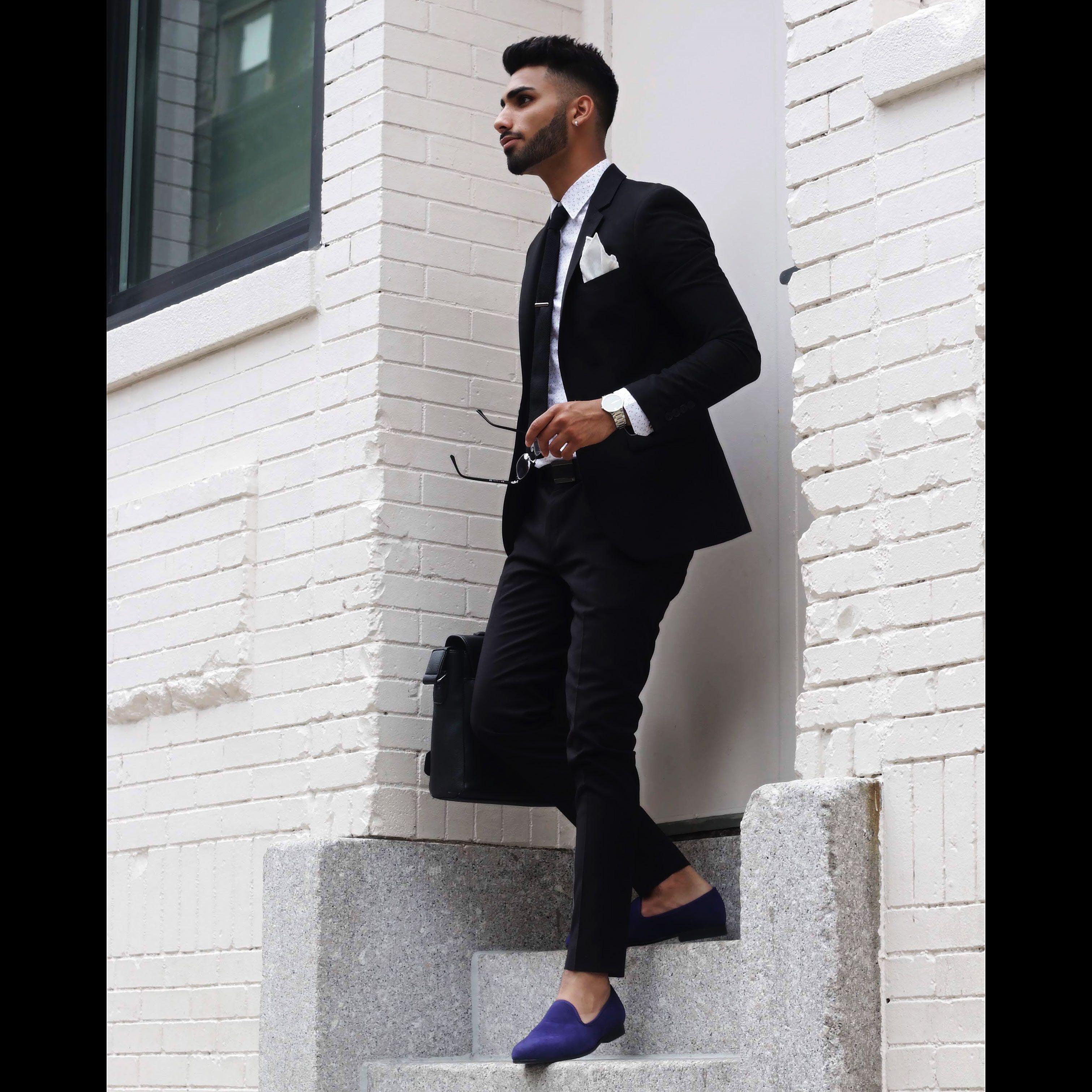 e392dbfadb03 Navy blue velvet slippers + black suit