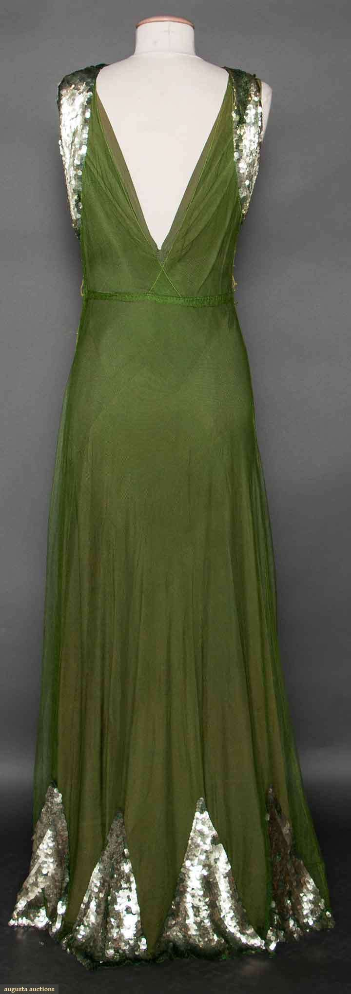 SEQUINED GREEN EVENING GOWN, LATE 1930s (back view) Olive green ...