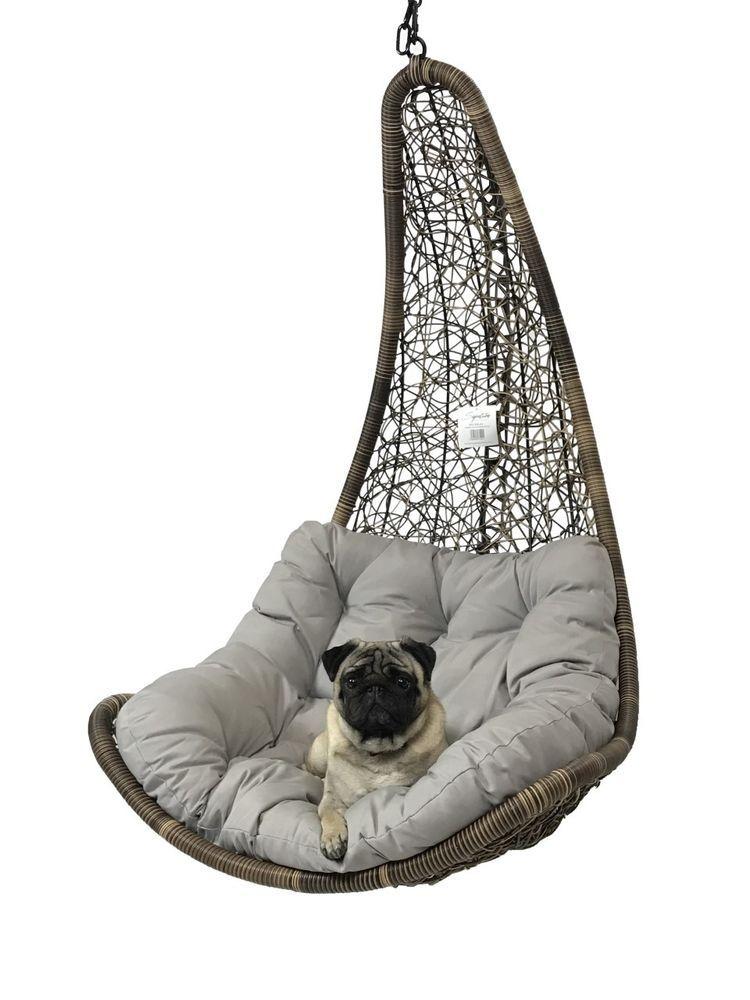 Brown rattan weave hanging swing egg chair w light grey