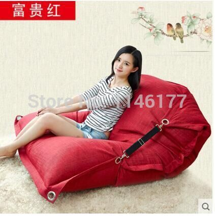 Red Beanbag Beanbag Chair Folding Simple Cotton Double Beanbag Sofa Bed  Tatami Bed Computer Ywxuege