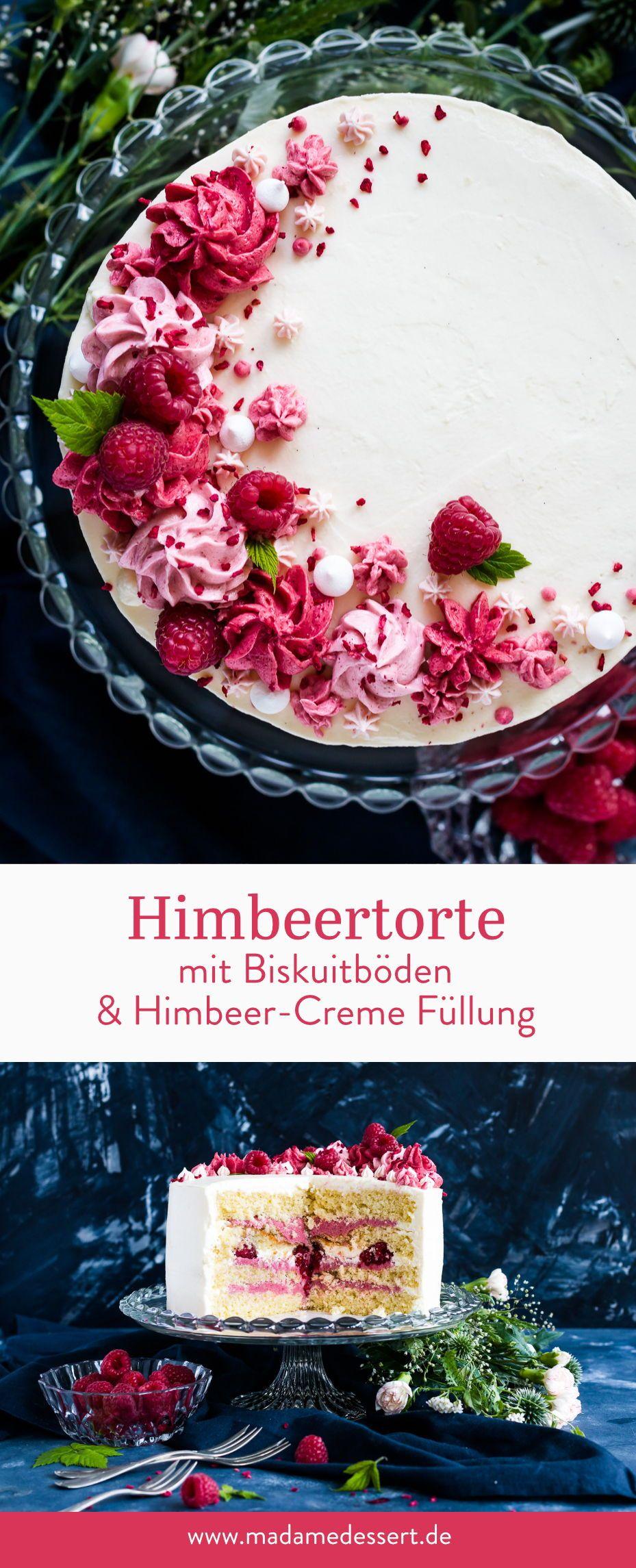 Rezept für Himbeertorte mit Biskuitböden   Madame Dessert