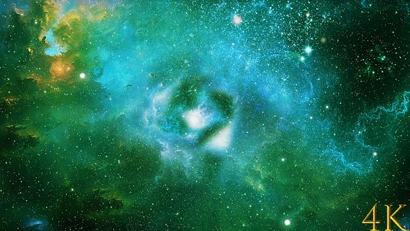 Abstract Exciting Green Space Nebula Background By Ketrinprize Resolution 4096x2160 C 4k Abstract Nebula Background