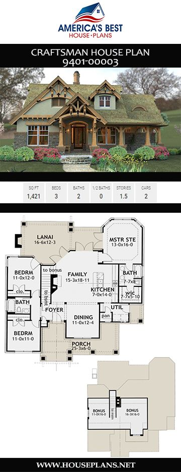 House Plan 9401 Small Plan 1 421 Square Feet 3 Bedrooms 2 Bathrooms