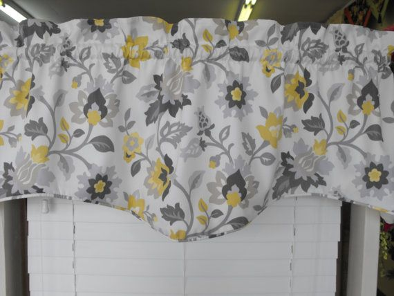 Sale Valance Gray And Yellow. Gray Window Valance, Window Curtain, Yellow  Valance, Yellow And Gray, Window Treatment