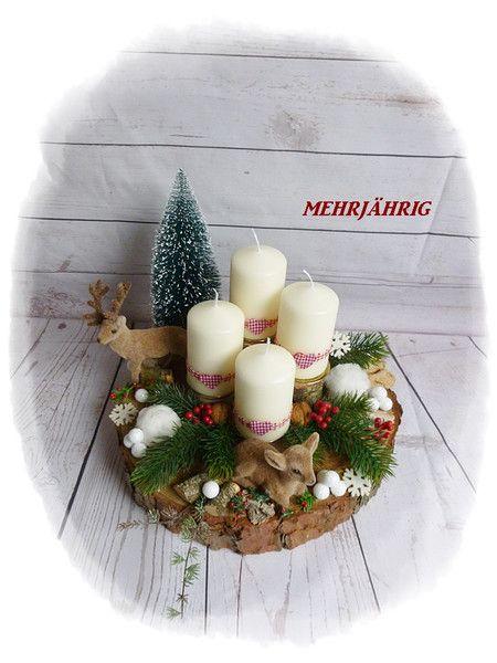 Adventskranz Adventskranz Adventsgesteck Auf Holzscheibe