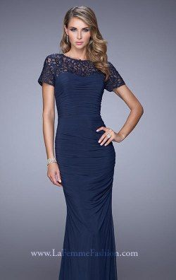 Embroidered Short Sleeved Gown by La Femme Evening 21713