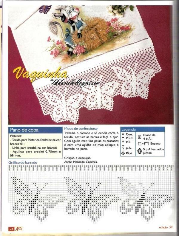 Barrado Borboleta Com Imagens Barrados De Croche Bico De Croche