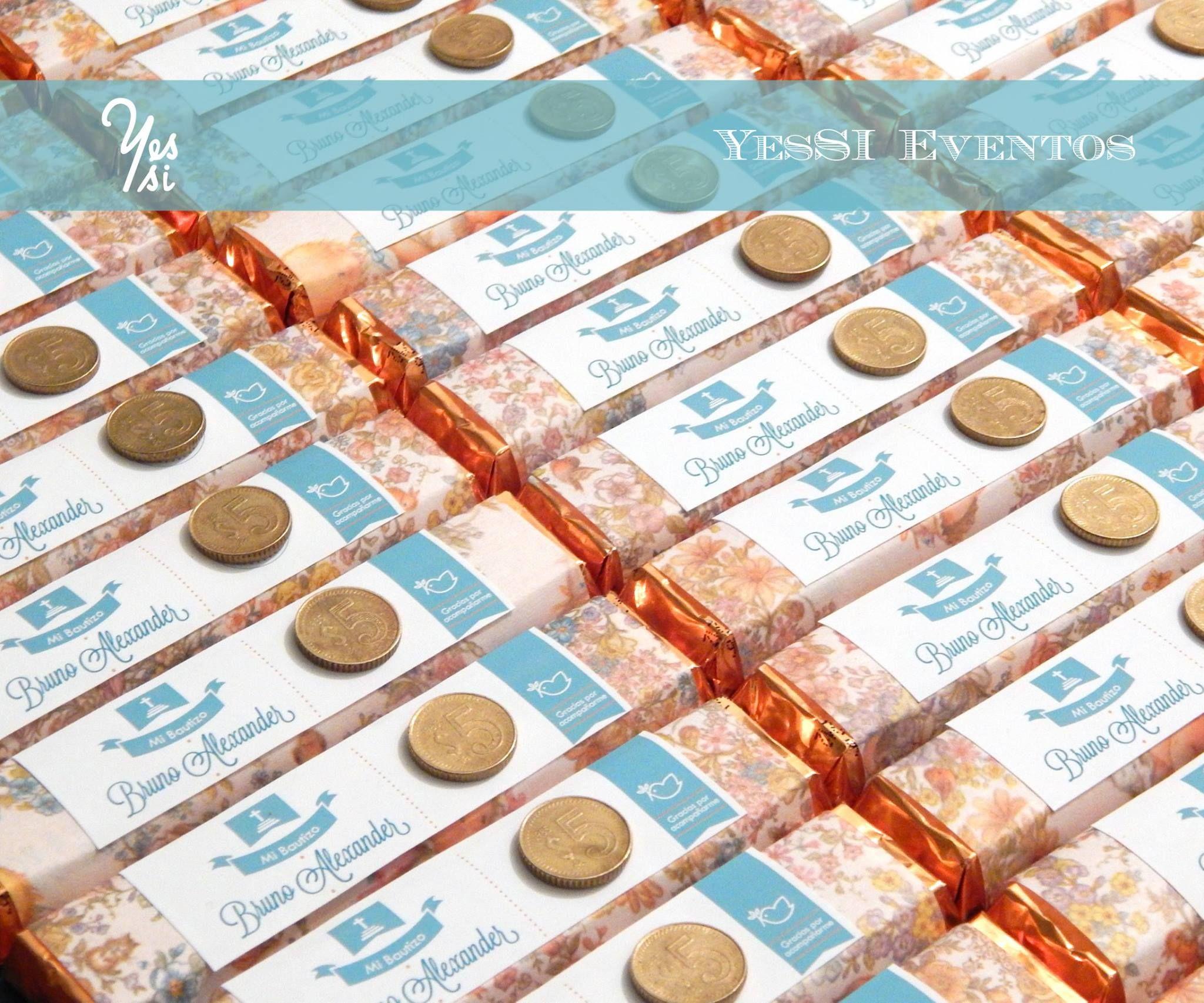 Bolos Para Bautizo Con Monedas.Bolos De Chocolate Con Etiqueta Personalizada Y Moneda