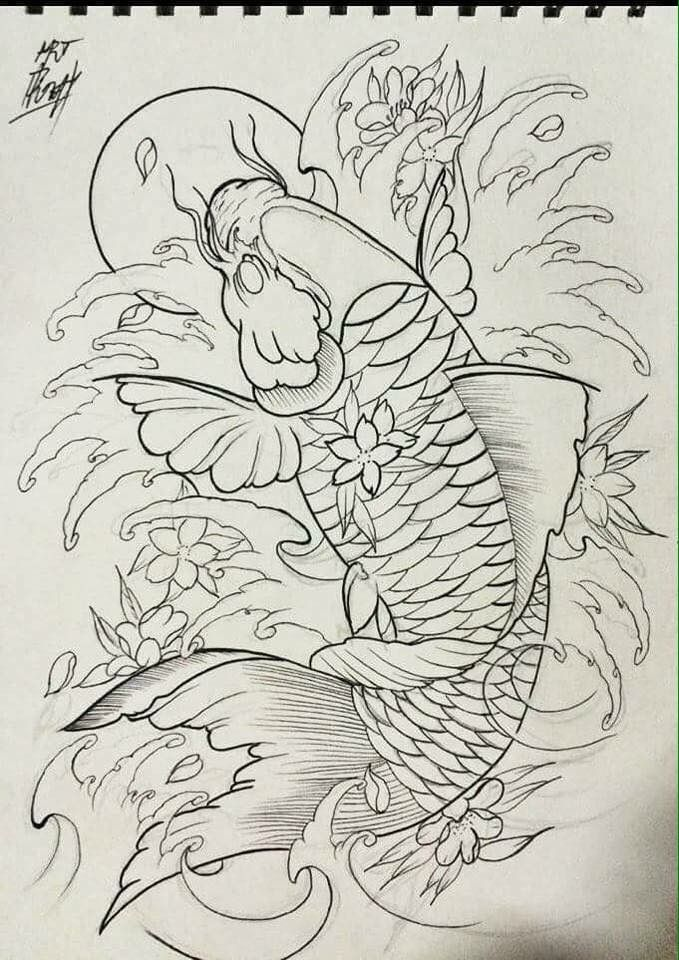Pin by t m knightz on c ch p pinterest koi tattoo for Koi fish sketch