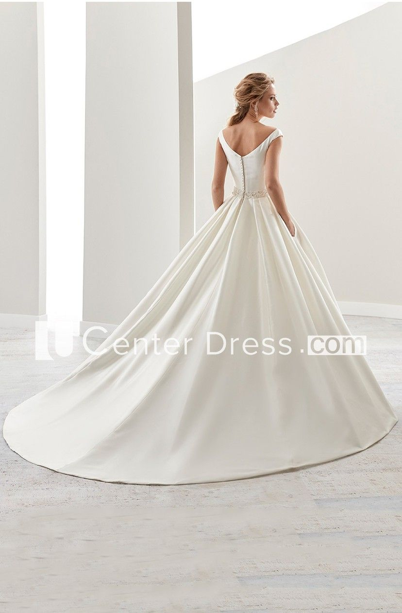 85f4763c59 Simple V-Neck A-Line Satin Wedding Dress With Beaded Belt And Brush Train -  UCenter Dress