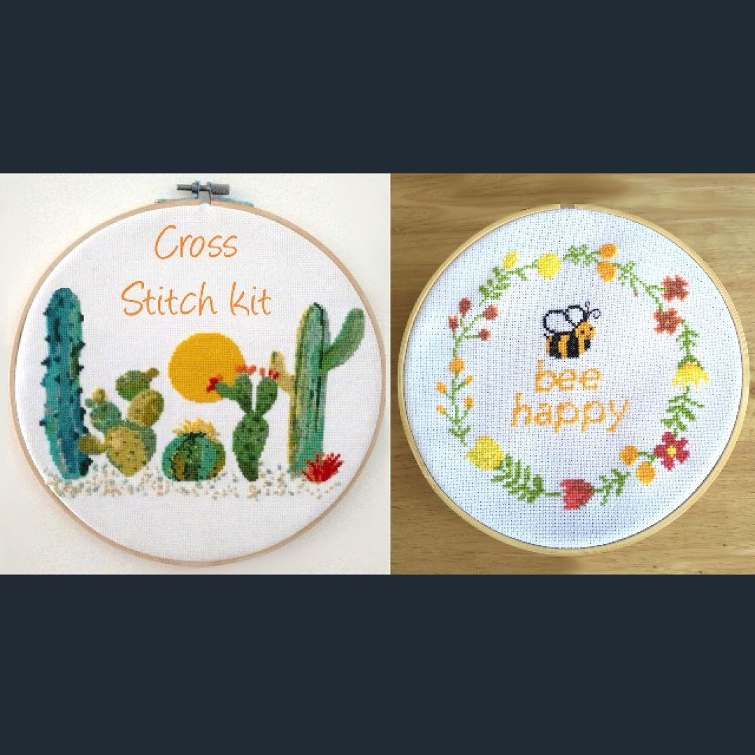 Cacti cross stitch pattern and bee happy quote cross stitch pattern