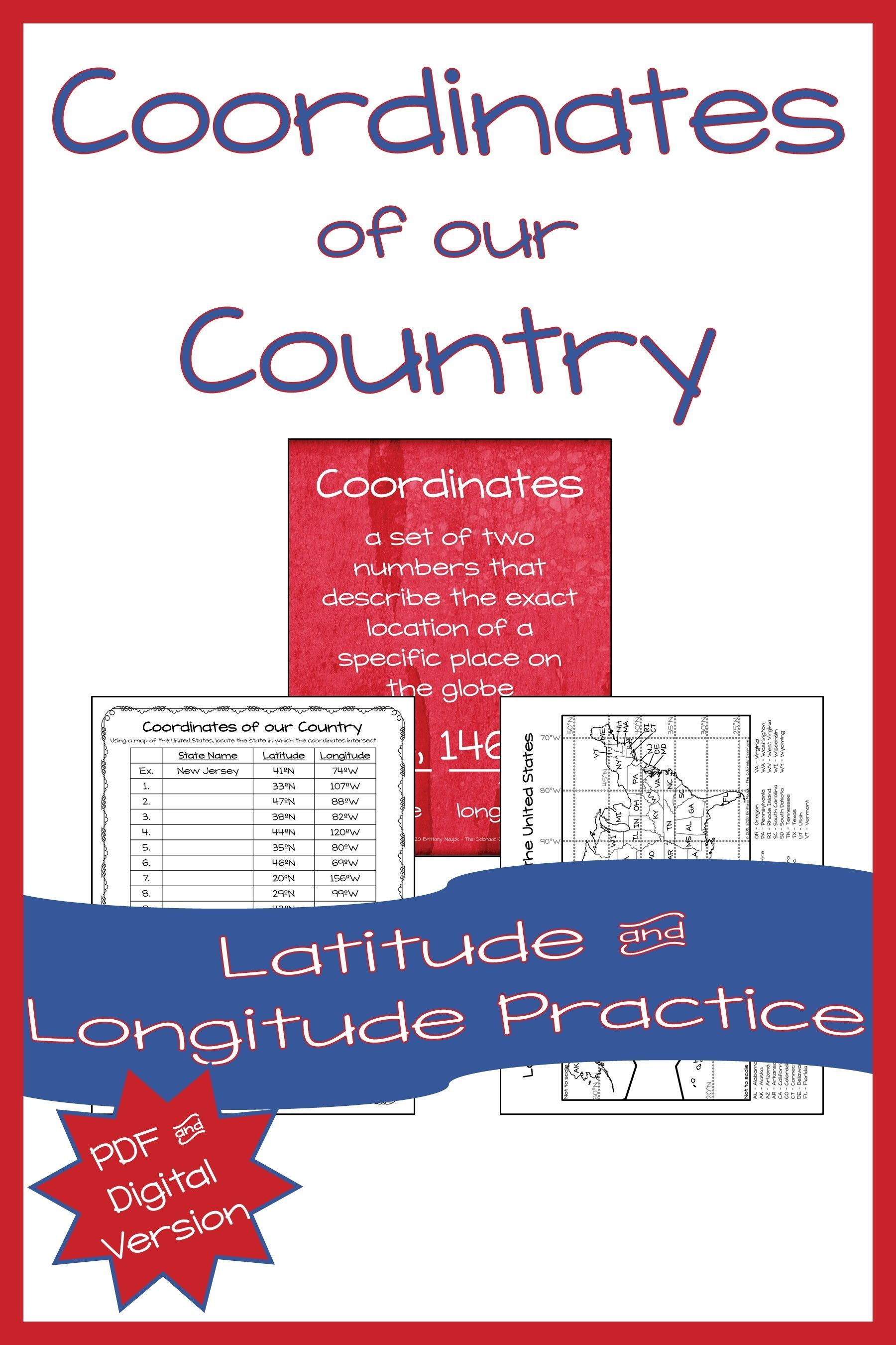 Us Geography Latitude And Longitude Coordinate Practice