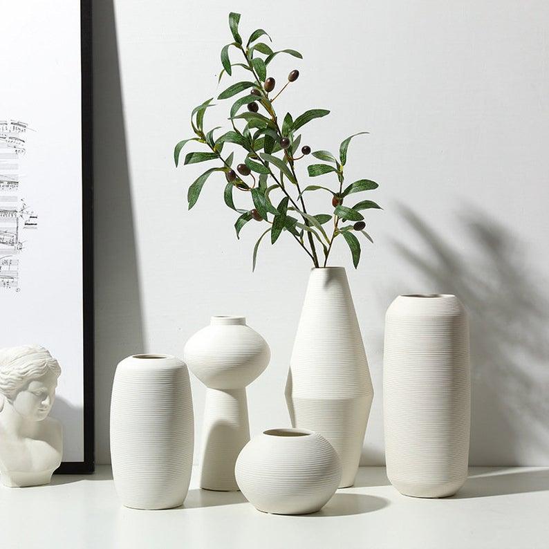 White Bisque Minimalist Ceramic Vase Minimal Home Decor Etsy In 2020 White Vase Decor Vases Decor Modern Vase