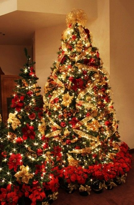 2013 led gold christmas tree decors gold christmas tree decorations with poinsettia christmas decor ideas - Poinsettia Christmas Tree Decorations