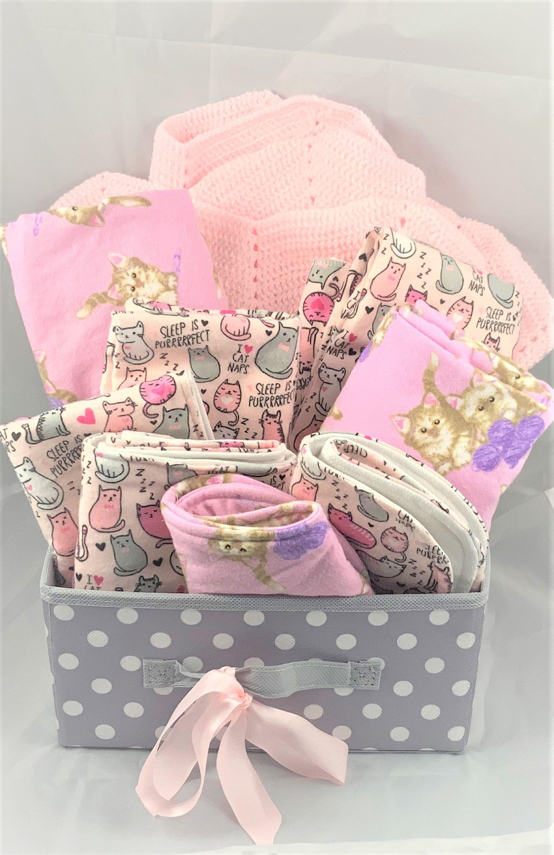 Baby Girl Gift Basket Baby Girl Kitten Burps All Handmade Etsy In 2020 Baby Girl Gift Baskets Girl Gift Baskets Handmade Baby Gifts