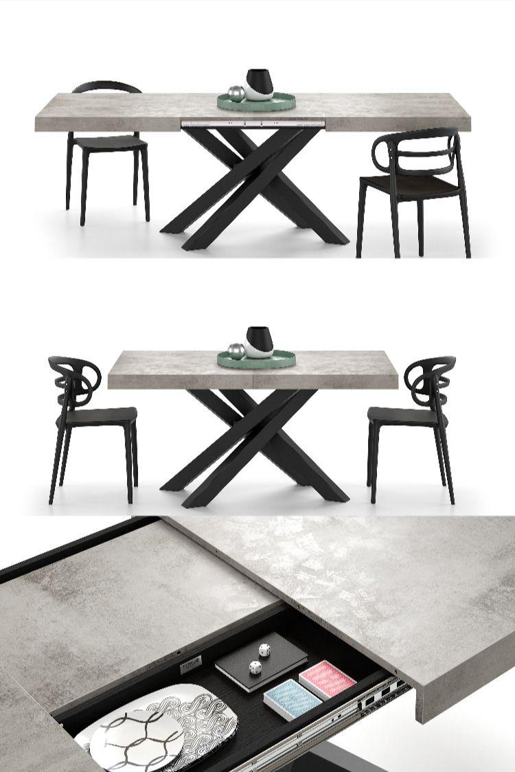 Tavolo Allungabile Emma Piano Colore Grigio Cemento Con Gambe Incrociate Nere Tavolo Cucina Ikea Tavolo Da Pranzo In Vetro Arredamento Sala Da Pranzo