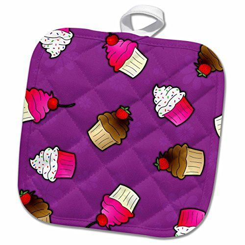 3dRose Janna Salak Designs Sweet Treats - Cute Cupcake Print Pink and Chocolate on Purple - 8x8 Potholder (phl_43142_1) -- Read more  at the image link.