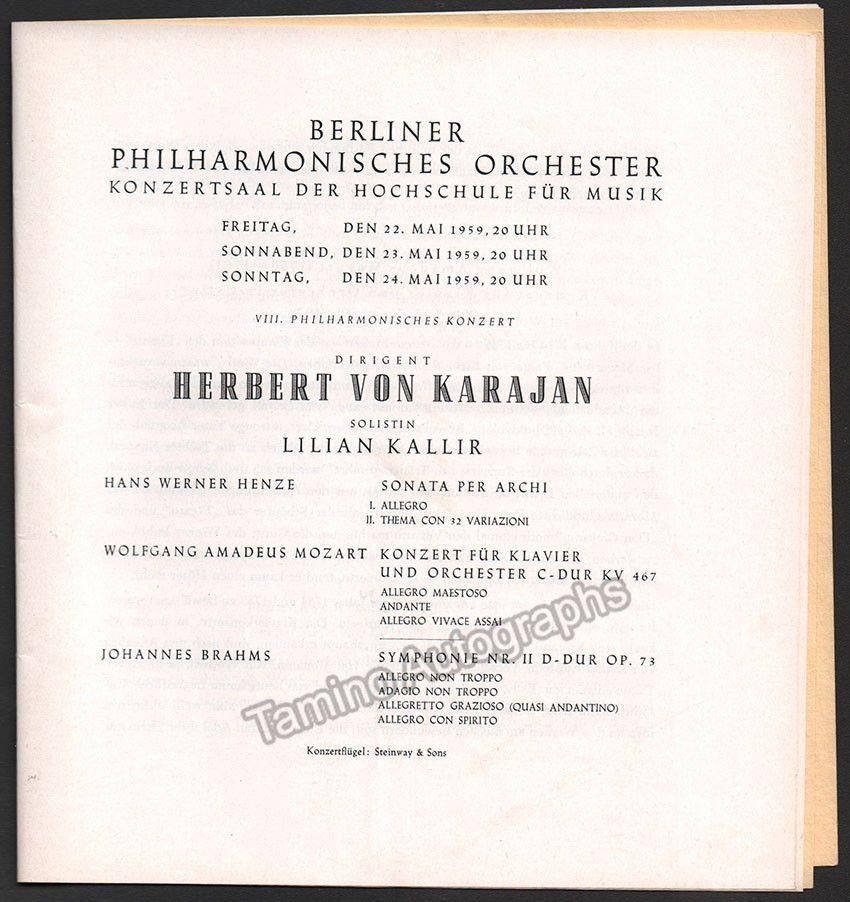 Karajan, Herbert von - Program Lot Berlin Philharmonic 1959-1962