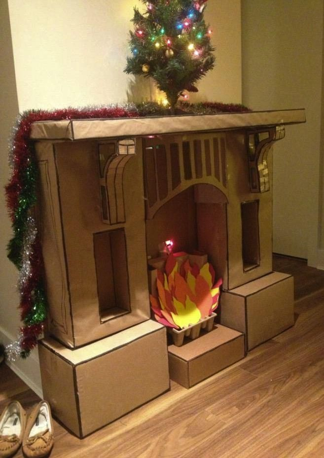 Fake Fireplace Mantel For Christmas Cardboard Fireplace Christmas Fireplace Christmas Diy