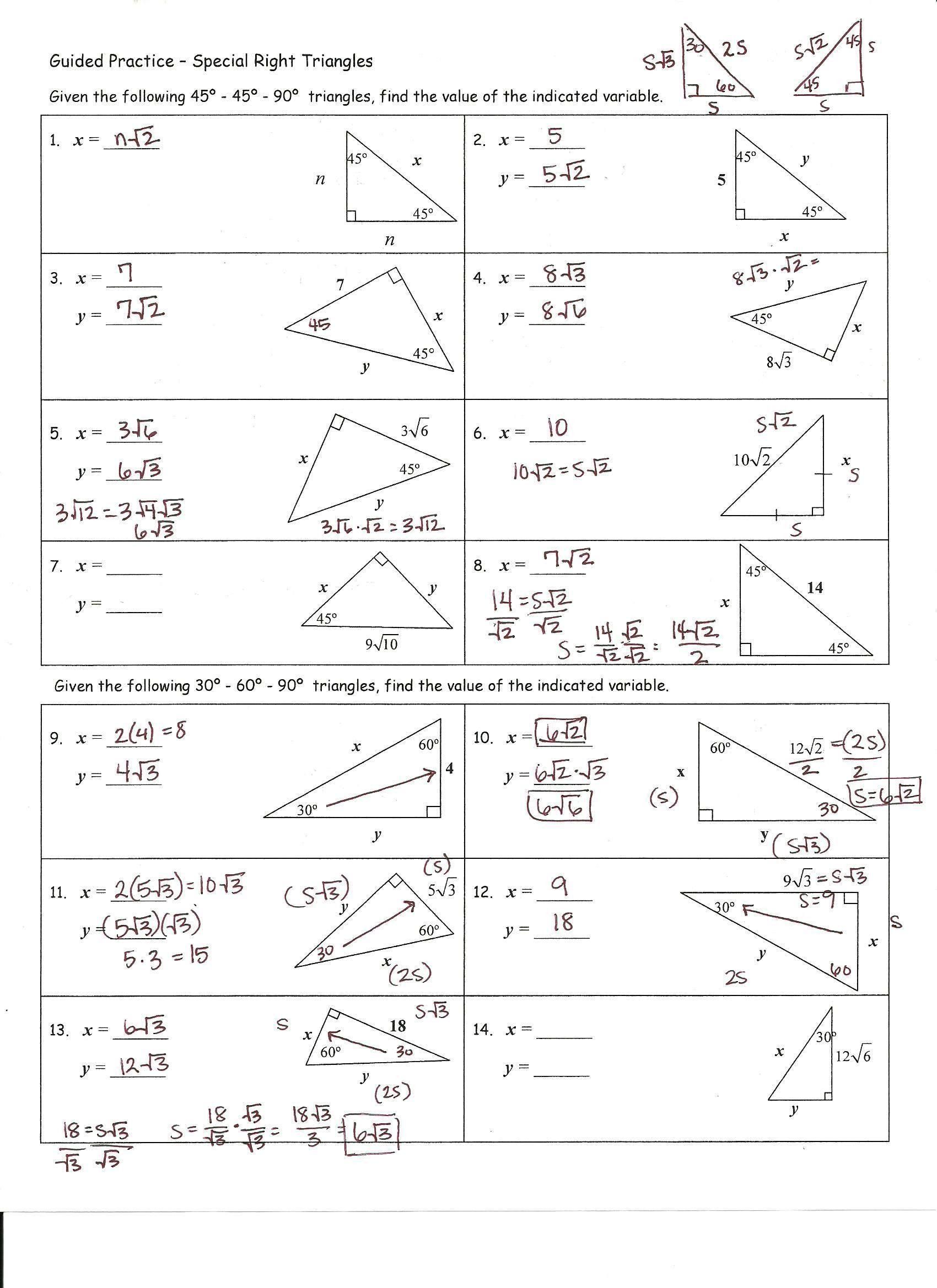 Special Right Triangle Worksheet Practice Worksheet