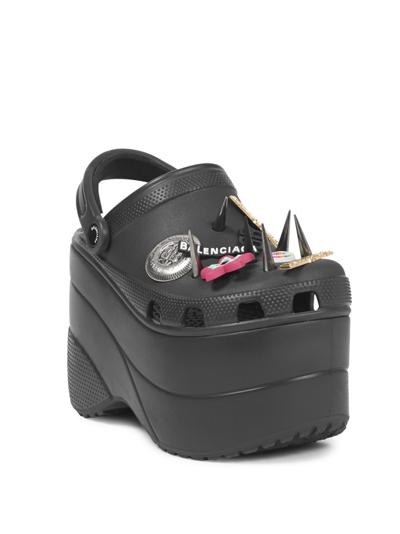 47b4238e3355c Balenciaga Black Foam Platform Crocs With Spikes