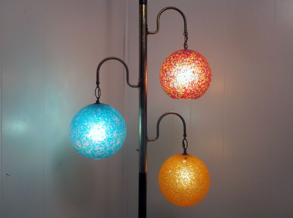 Details About 70s Retro Tension Pole Lamp 3 Way Hanging