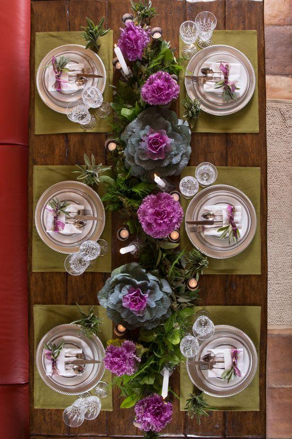 Edible Ornamental Themed Thanksgiving Tablescape Pop A Little Purple Into You Purple Table Settings Thanksgiving Table Decorations Thanksgiving Centerpieces