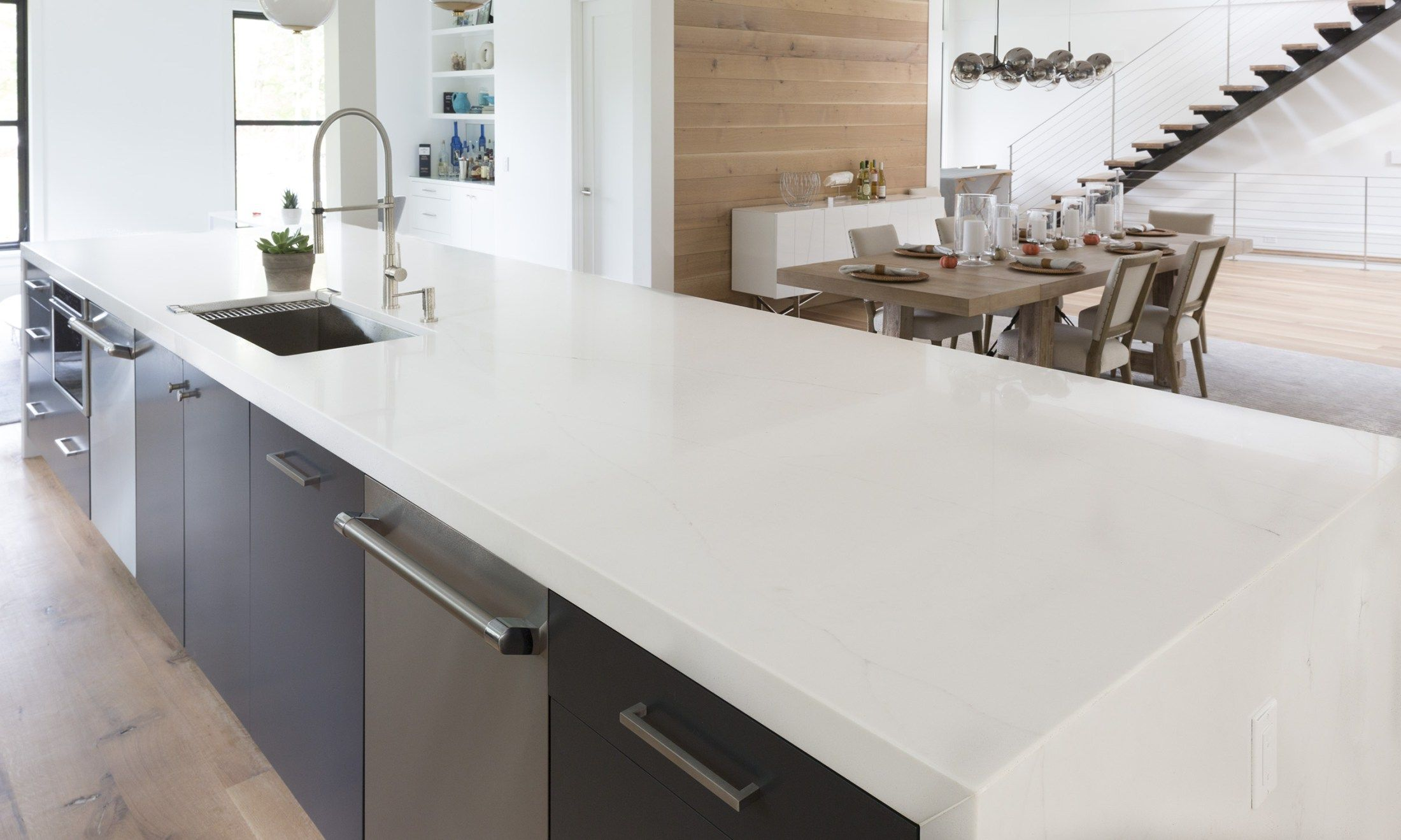 Lincoln Aurea Stone White Quartz Blue Kitchen Inspiration