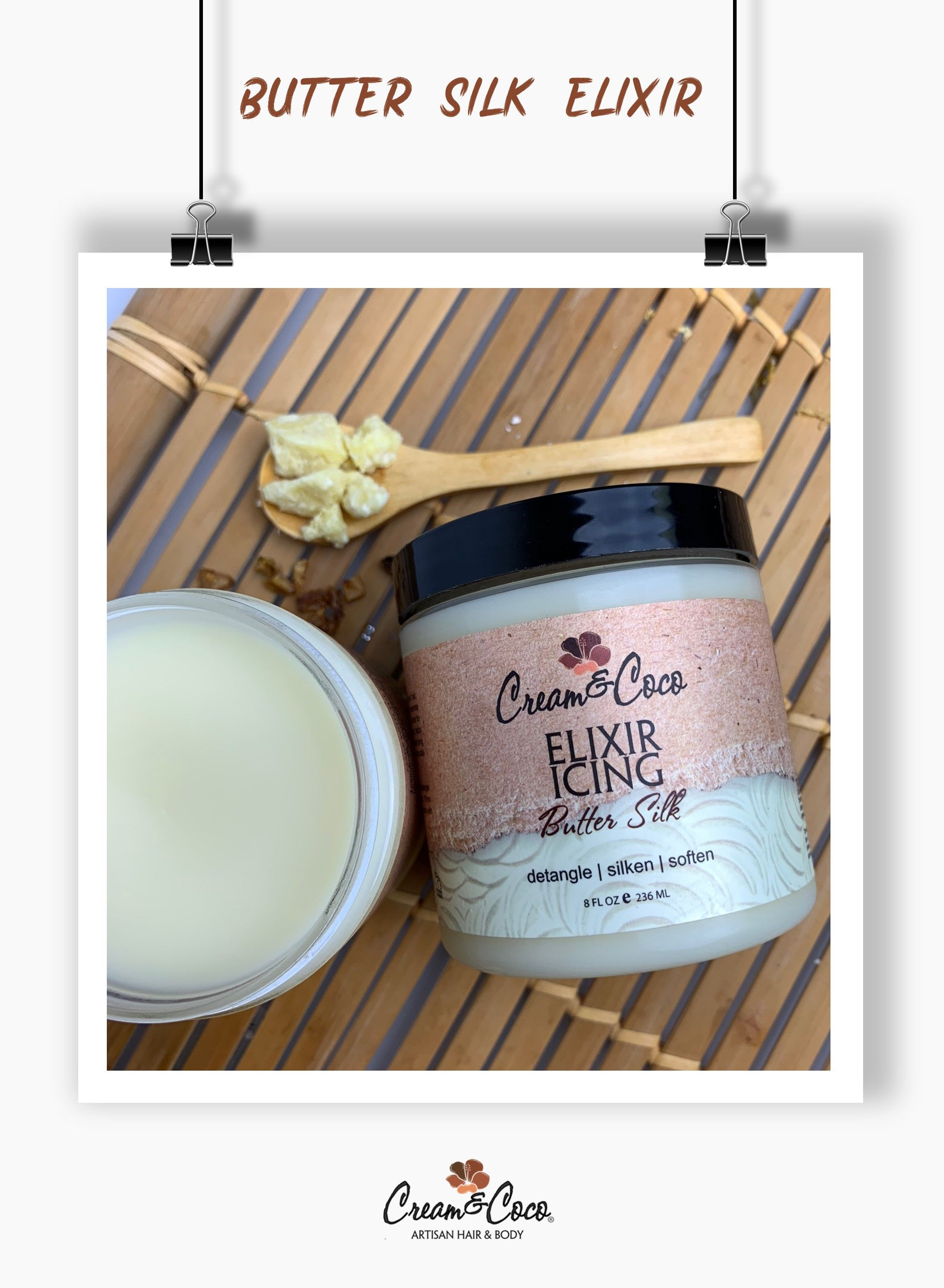 Butter Silk Elixir Butter Silk Elixir. Silkening creamy elixir packed with organic Cocoa Butter that slides across your hair, but rinses cleanly leaving it amazingly soft. Shea Butter & avocado oil can penetrate and nourish the ends of your hair as well as the scalp.