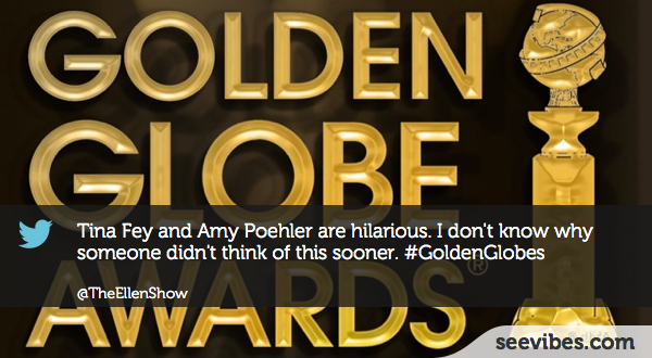 January 13, 2013: the first big event of the year has generated reactions on Twitter with more than 4200 retweets for this post - #Seevibes #TopRetweet #Twitter #GoldenGlobe - https://twitter.com/TheEllenShow/status/290638431913144320
