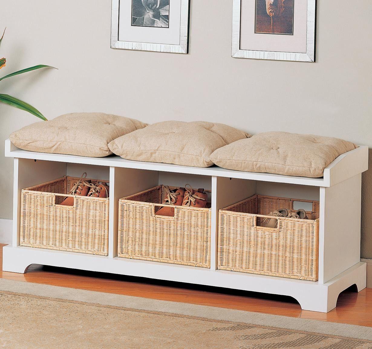 Build a Bench with Storage Baskets in 2020 White storage