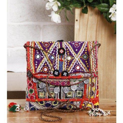 Multicolored Embroidered Afghani Sling Bag