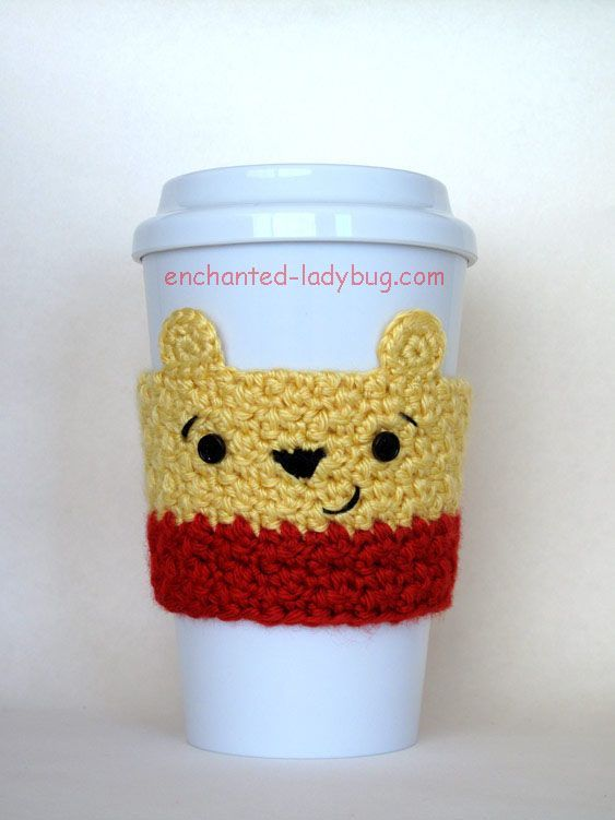 Free crochet winnie the pooh coffee cup cozy pattern. A crochet cozy ...