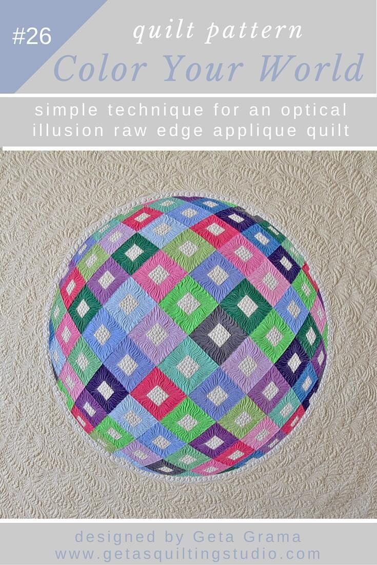 Optical illusion 3D Applique Quilt Pattern Color Your World